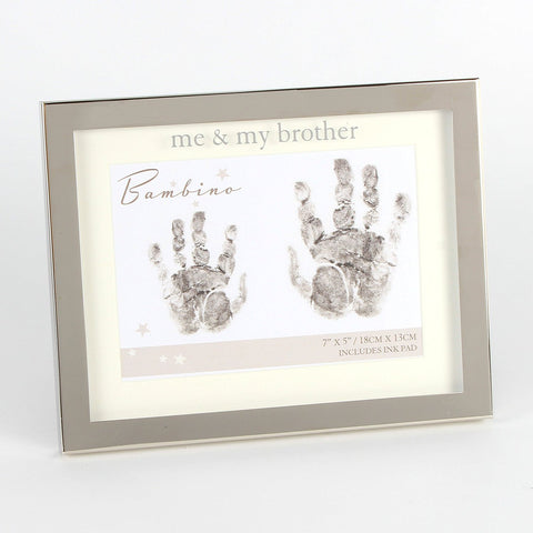"Me and My Brother Hand print 7"" x 5"" Photo Frame Baby Gift"