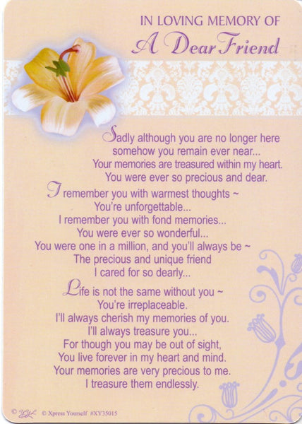 In Loving Memory - Of a Dear Friend - Grave/Graveside Memorial Card - hanrattycraftsgifts.co.uk