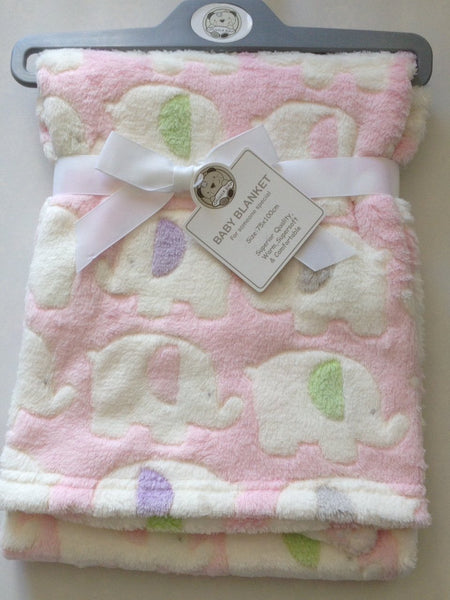 Beautiful Soft Baby Blanket With Elephants Pink/White 100 cm x 75 cm - hanrattycraftsgifts.co.uk