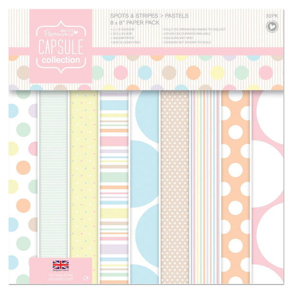 Papermania 8 x 8-inch Capsule Collection Spot and Stripe Pastels Paper, Pack of 32, Multi-Colour - hanrattycraftsgifts.co.uk