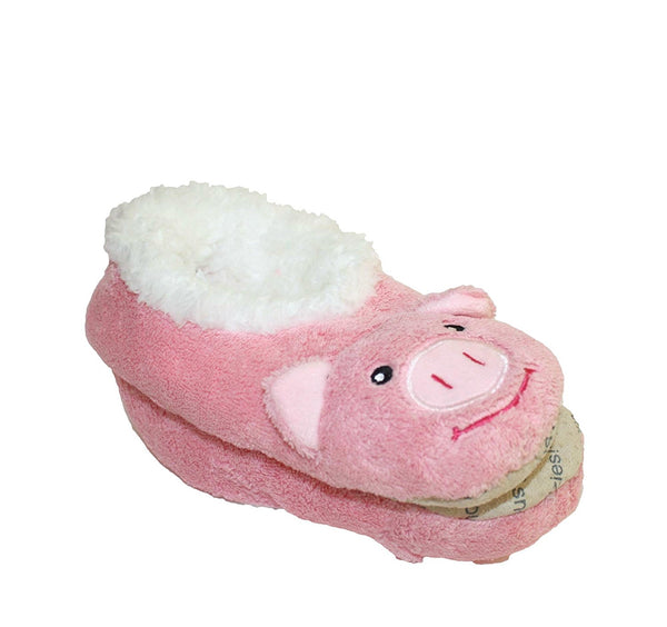 NEW Snoozies Cozy Little Animals Indoor Fleece Slippers with Non Slip Sole (UK 5-6, Pink Pig) - hanrattycraftsgifts.co.uk