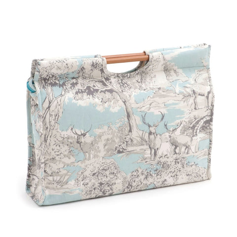 Hobby Gift 'Manor Toile' Craft Bag with Wooden Handle 11 x 42 x 30cm (d/w/h) - hanrattycraftsgifts.co.uk