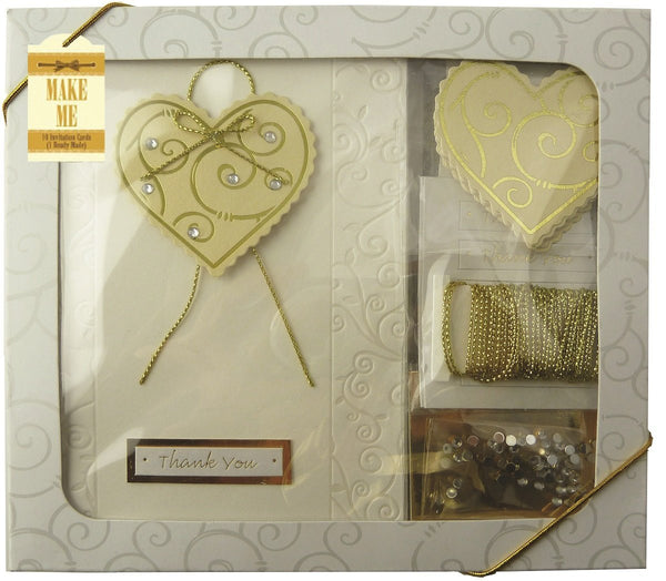 Craftime Heart Thank You Card Kit, Gold