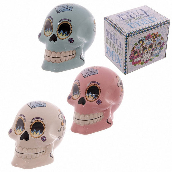 Lauren Billingham Day of the Dead Skull Money Box. Height 10cm Width 8cm. (Blue) - hanrattycraftsgifts.co.uk