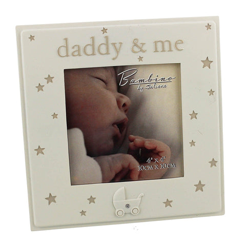 "Daddy & Me - beautiful Bambino cream resin 4 x 4"" frame with stars"
