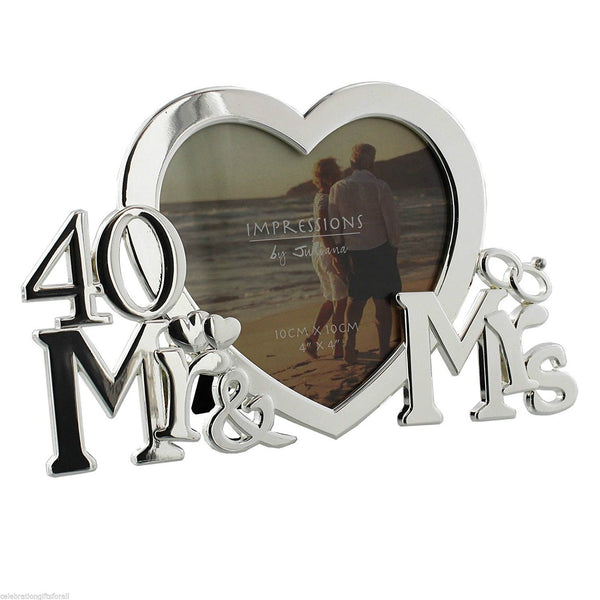 Juliana Silver-plated Heart Photo Frame Mr & Mrs 40th Anniversary - hanrattycraftsgifts.co.uk