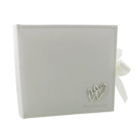 "Beautiful Mr & Mrs Wedding 6"" x 4"" Photo Album with Double Heart Icon - Wedding Day"