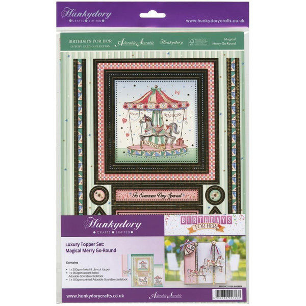 Hunkydory Crafts Birthdays for Her A4-Magical Merry Go-Round Luxury Topper Set - hanrattycraftsgifts.co.uk