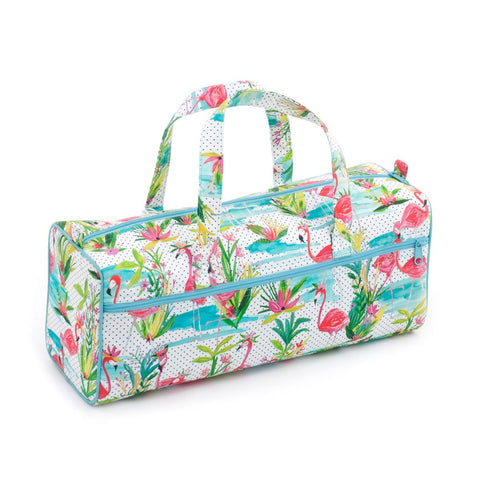 Hobby Gift 'Flamingos' Knitting Bag 15 x 45 x 17cm (d/w/h) - hanrattycraftsgifts.co.uk