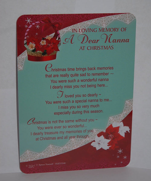"Christmas Graveside Memorial Card and Holder - In Loving Memory Of A Dear Nanna At Christmas : - Size : - 5.75 "" x 4 "" (15 cm x 10.5 cm) - hanrattycraftsgifts.co.uk"