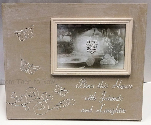 "Bless This House With Friends & Laughter Wooden 6 x 4"" Photo Frame Chic Shabby"