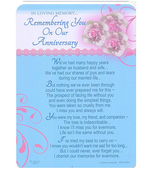 In Loving Memory - Remembering You On Our Anniversary - Grave/Graveside Memorial Card