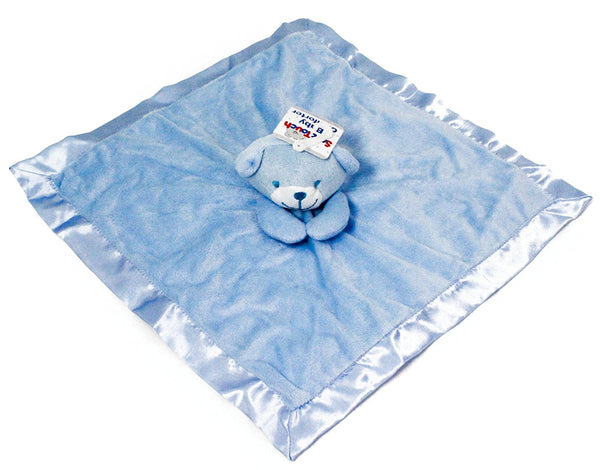 Soft Touch Baby Girl/Boy Luxury Teddy Comforter - Blue - hanrattycraftsgifts.co.uk