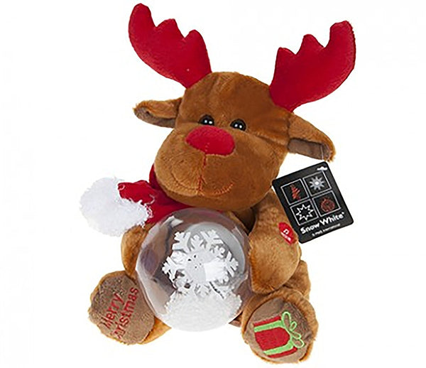 PMS Light Up Musical Reindeer Plush Decorations W/snow Globe - hanrattycraftsgifts.co.uk