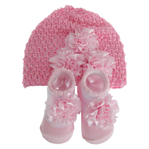 Nursery Time Baby Girls Hat And Booties Gift Set - hanrattycraftsgifts.co.uk