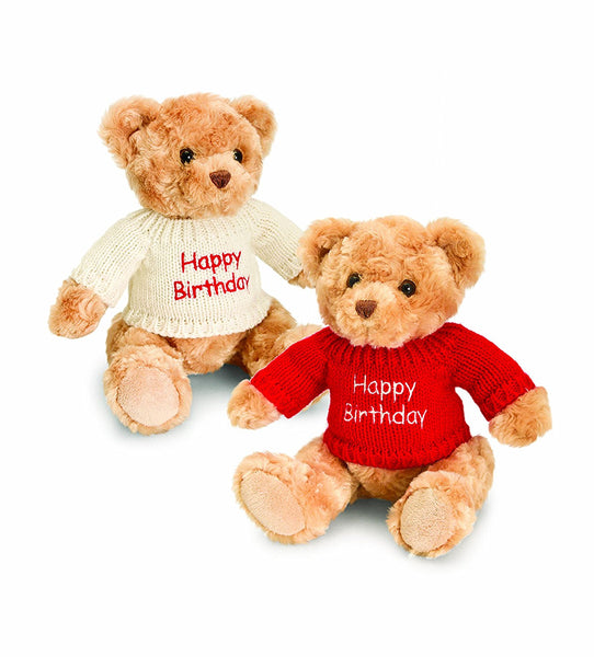 Keel Toys 20 cm Happy Birthday Bear with Jumper - hanrattycraftsgifts.co.uk