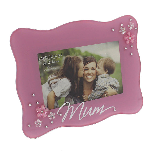 "Juliana Glass Frame with Flower Crystals - Mum 6"" x 4"" Pink - hanrattycraftsgifts.co.uk"