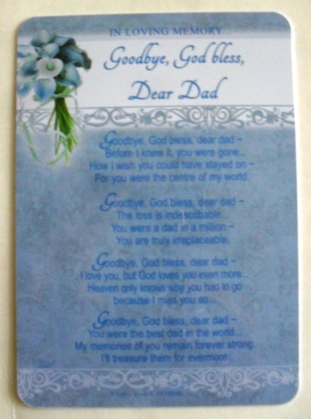 goodbye god bless dear dad graveside card - hanrattycraftsgifts.co.uk