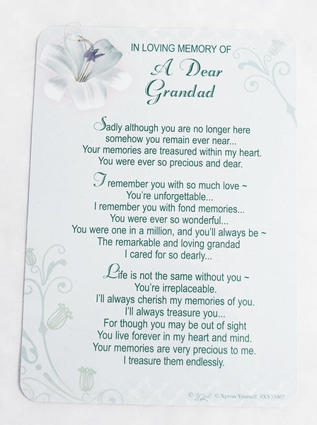 In Loving Memory - Of A Dear Grandad - Grave/Graveside Memorial Card - hanrattycraftsgifts.co.uk