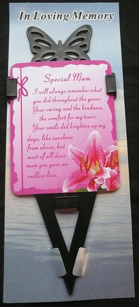 Mum Memorial laminated waterproof card with butterfly spike holder stake - hanrattycraftsgifts.co.uk