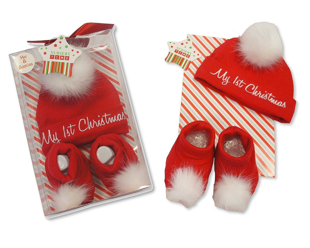 Baby s First Christmas 2 Piece Hat and Booties Set Gift Boxed –  hanrattycraftsgifts.co.uk ad85bb6f90e