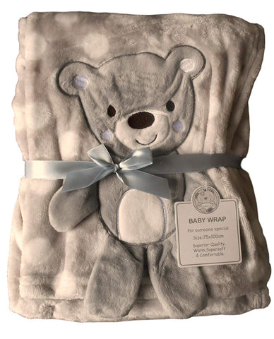 Baby Boys Girls Gorgeous White Spotted with Grey Teddy Bear Embroidered Blanket - hanrattycraftsgifts.co.uk