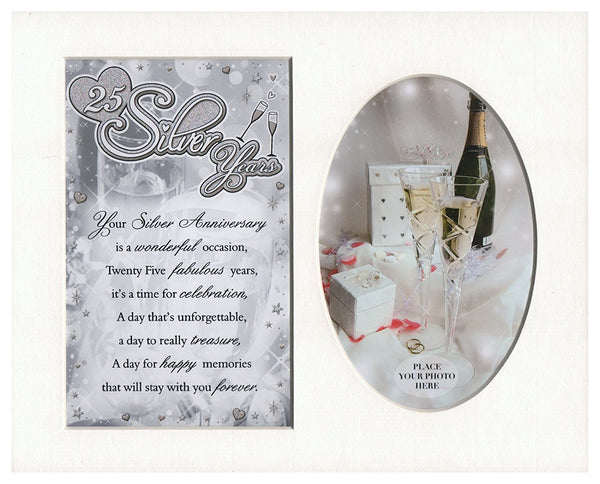 25 Silver Years 25th Anniversary Special Keepsake Photo Frame Mount