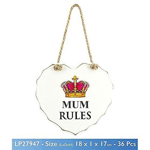 "White ""MUM RULES"" Crown Design Love Heart Shaped Sentimental Hanging Plaque - hanrattycraftsgifts.co.uk"