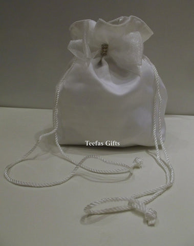 White Matt Satin Wedding Bridal Bag - White Matt Satin Holy Communion Dolly Bag. - hanrattycraftsgifts.co.uk