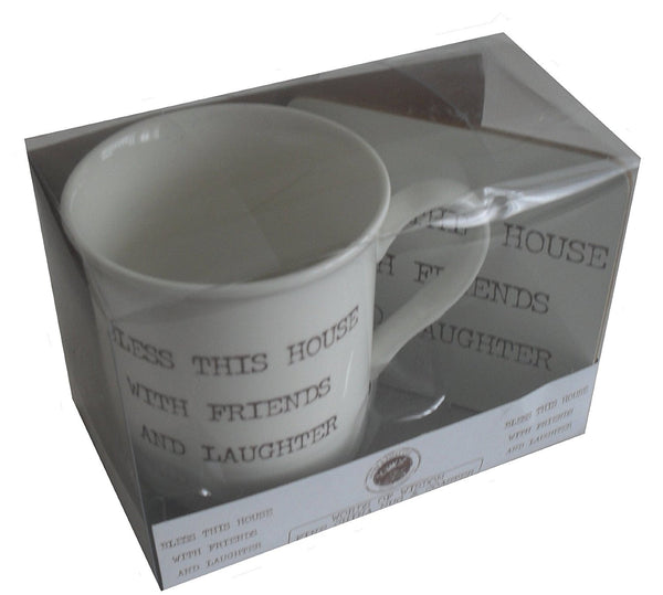 Word Of Wisdom Mug & Coaster Boxed Set - Bless This House With Friends And Laughter