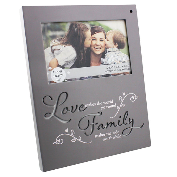 Love & Family Light Up Motion Sensor Photo Frame Bright Lights By Juliana Gifts - hanrattycraftsgifts.co.uk