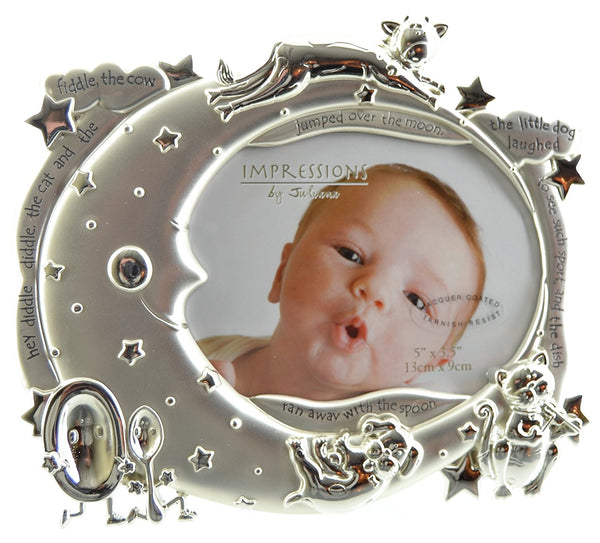 "Juliana 18cm Silver Plated Baby Photo Frame ""Hey Diddle Diddle"" - hanrattycraftsgifts.co.uk"