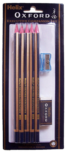 Helix Oxford Executive Companion Set - 10 Pencils (HB) , Eraser (Rubber) & Pencil Sharpener - hanrattycraftsgifts.co.uk