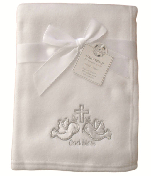 Baby White Silver God Bless Doves and Cross Wrap Blanket 100cm x 75cm approx - hanrattycraftsgifts.co.uk