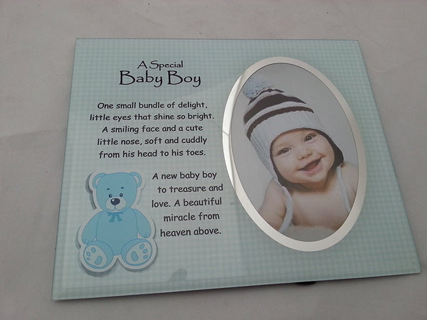 David Fischhoff Baby Boy Frame, Glass, Blue, 19 x 23 cm - hanrattycraftsgifts.co.uk