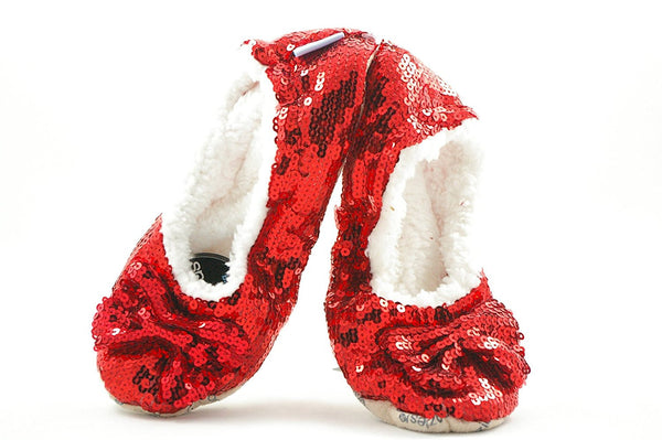 Ladies Christmas Red Sequin Bling-It-On Snoozies Slippers ~ Sherpa Fleece & Non-Slip Sole ~ Ballerina Style ~ Various Sizes 3-7 ~ S / M / L - hanrattycraftsgifts.co.uk