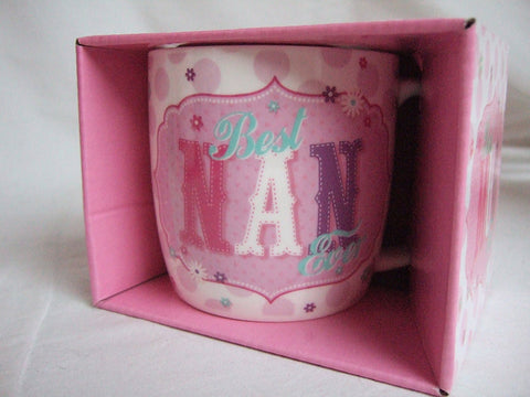 """Best Nan Ever"" Pink Vintage Style Pattern Sentimental Mug"