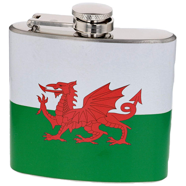 5oz Stainless Steel Hip Flask - Welsh Flag - hanrattycraftsgifts.co.uk