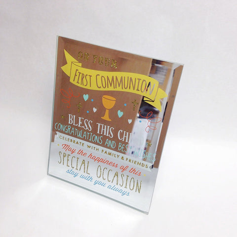First Communion - Signography Mirror Glass Plaque