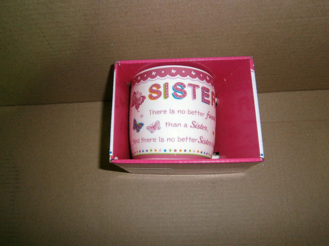 """Sister"" Sentimental Pink Butterfly Ceramic Mug with Presentation Box - hanrattycraftsgifts.co.uk"