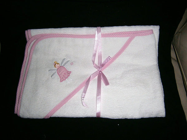 "baby girl white pink gingham edged embroided fairy mottif hooded towel size30""x30"" - hanrattycraftsgifts.co.uk"