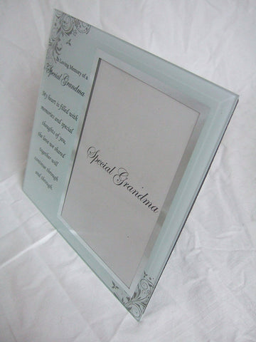 """In Loving Memory, Special Grandma"" Memorial Glass 6""x4"" (15x10cms) Photo Frame with Sentimental Verse"