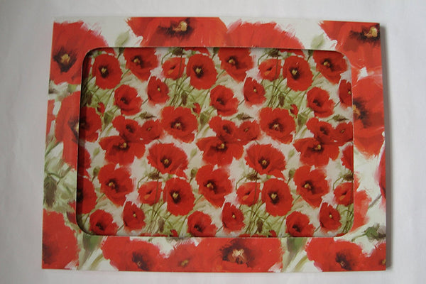 Glass Chopping Board Worktop Saver - Poppy / Poppies Design - hanrattycraftsgifts.co.uk
