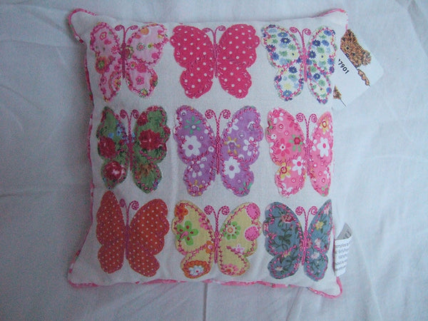 White Patchwork Butterflies Decorative Cushion - Shabby Chic Style - hanrattycraftsgifts.co.uk