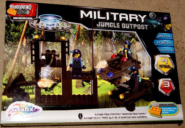 Block Tech Military Jungle Outpost Blocks Play Set 5 Years + - hanrattycraftsgifts.co.uk