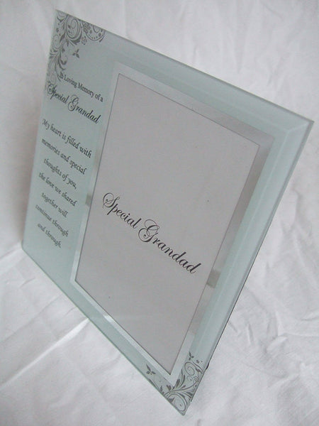 """In Loving Memory, Special Grandad"" Memorial Glass 6""x4"" (15x10cms) Photo Frame with Sentimental Verse - hanrattycraftsgifts.co.uk"