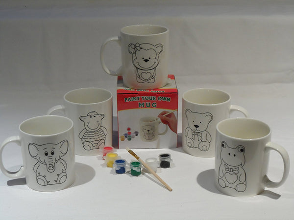 Children's Paint your own Animal Mug Cup Paint Filler Brush Christmas Stocking