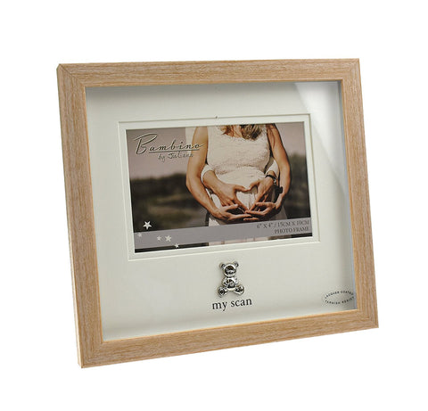 "Bambino Light Wooden effect ""My Scan""Picture Frame with Silver Pram Icon 6"" x 4"""
