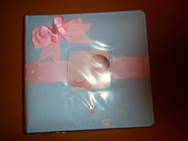 baby photo album blue polkadot and ribon front - hanrattycraftsgifts.co.uk