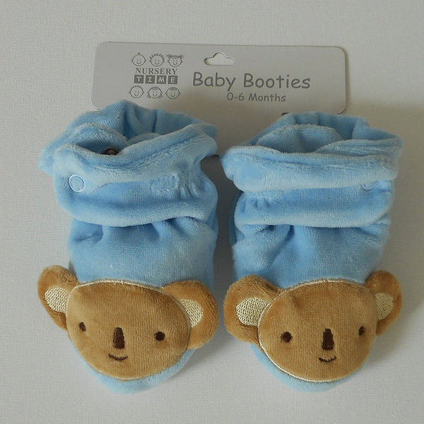 Pair of Baby Shoes 6 - 12 Months Blue Velvet Baby with Teddy Bear - hanrattycraftsgifts.co.uk